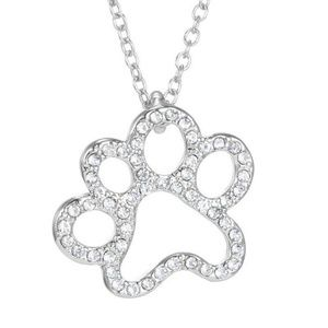 Crystal Stone LG Dog Paw Silver Necklace
